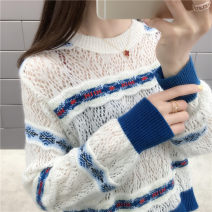 Wool knitwear Spring of 2019 S M L XL White black grey Long sleeves singleton  Socket other More than 95% Regular Thin money commute easy Low crew neck routine Color matching Socket Korean version HZZ_ 1903JD10999 Flower child Gouhua hollow Other 100% Pure e-commerce (online only)