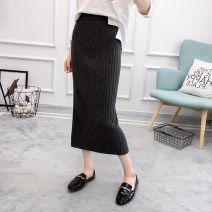skirt Fall 2017 S M L Black grey Mid length dress commute High waist skirt Solid color Type A HZZ_ 1709JD5202 More than 95% knitting Flower child other thread Korean version Other 100% Pure e-commerce (online only)