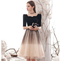 Dress / evening wear The company's annual convention performs daily appointments S M L XL XXL XXXL fashion Short skirt middle-waisted Winter of 2019 A-line skirt U-neck zipper 18-25 years old Short sleeve Nail bead other Guiyumina / guiyoumena routine Other 100% Pure e-commerce (online only) Sequins