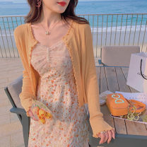 Wool knitwear Summer 2021 S M L XL Peach orange soft purple big white Long sleeves singleton  Cardigan other More than 95% Regular Thin money Sweet easy Low crew neck routine Solid color Single breasted 18-24 years old Princess Yong Auricular button Other 100% Pure e-commerce (online only)