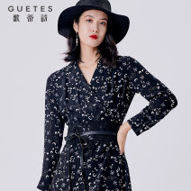 Dress Spring 2021 Hand painted flowers on black background 07/S 9/M 11/L 13/XL 15/XXL longuette singleton  Long sleeves commute V-neck middle-waisted Decor Socket A-line skirt routine 25-29 years old Type A Gotti's Poems printing 8B11L3088 More than 95% Chiffon silk Mulberry silk 100%