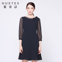 Dress Spring of 2019 Tibetan green 7/S 9/M 11/L 13/XL 15/XXL 17/XXXL Short skirt commute middle-waisted zipper A-line skirt 35-39 years old Type A Gotti's Poems lady 1I12L1004 More than 95% polyester fiber Other polyester 95% 5% Same model in shopping mall (sold online and offline)