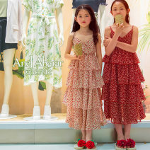Dress female Polyester 100% summer lady Skirt / vest Broken flowers Chiffon Cake skirt Class B Summer 2021 7 years old, 8 years old, 9 years old, 10 years old, 11 years old, 12 years old, 13 years old, 14 years old Chinese Mainland Hunan Province Zhuzhou City