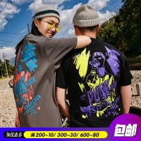 T-shirt Youth fashion Grey black routine 3XL 4XL 5XL 6XL 7XL Wei Chen Short sleeve Crew neck easy daily summer MB3977 Cotton 100% Couples dress routine tide Knitted fabric Summer 2020 Full of flowers printing cotton Figure pattern tto  Designer brand Pure e-commerce (online only) More than 95%