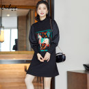 Dress Winter 2020 Black (without velvet) S M L XL Middle-skirt singleton  Long sleeves commute Half high collar Loose waist Cartoon animation Socket A-line skirt bishop sleeve Others 30-34 years old Type H European puzzle Korean version Patchwork printing OHDRD10018 More than 95% polyester fiber