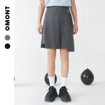 skirt Summer 2021 S M L Short skirt commute High waist A-line skirt Solid color 18-24 years old 91% (inclusive) - 95% (inclusive) omont polyester fiber pocket Retro Polyester 92.4% polyurethane elastic fiber (spandex) 7.6%