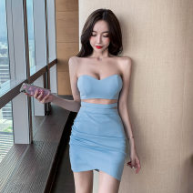 Dress Summer 2020 Light blue, white, black, pink S,M,L Short skirt singleton  Sleeveless commute middle-waisted Solid color zipper One pace skirt Breast wrapping 18-24 years old Splicing YM8503 71% (inclusive) - 80% (inclusive) polyester fiber