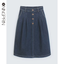 skirt Summer 2020 S M L 2XL 3XL 4XL Wash water blue Mid length dress commute Natural waist Denim skirt Solid color 30-34 years old n09238-1 81% (inclusive) - 90% (inclusive) Denim Ningprin / Ning Jing cotton Make old buttons Korean version Cotton 86% polyester 11% polyurethane elastic 3%