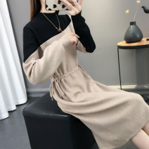 Dress Winter of 2019 Khaki Tibetan S M L XL longuette singleton  Long sleeves commute Half high collar middle-waisted other Socket Big swing routine Others 25-29 years old Embroidered rose Korean version Pleated stitching bandage P3010 More than 95% other Other 100% Pure e-commerce (online only)