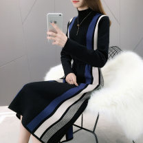 Wool knitwear Winter of 2018 S M L XL Black blue. Coffee 0 Long sleeves Fake two pieces Socket other More than 95% Medium length thickening Straight cylinder routine stripe ZJP3009PXMG 25-29 years old Embroidered rose Splicing Other 100% Pure e-commerce (online only)