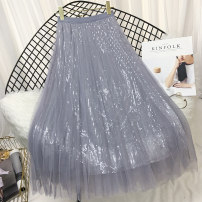 skirt Winter of 2018 Average (f) Pink apricot black grey Mid length dress High waist Pleated skirt Type A 25-29 years old Q2338 Wufen Pleated wave Sequin mesh stitching Pure e-commerce (online only)