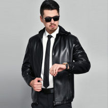 leather clothing Others Business gentleman black 170/M,175/L,180/XL,185/XXL,190/XXXL Medium length Leather clothes Lapel Slim fit zipper autumn leisure time middle age Business Casual 119-2055 Straight hem other No iron treatment
