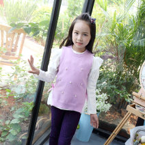 Sweater / sweater 100cm 110cm 120cm 130cm 140cm other female Light Blue Lavender Rose Rainbow swans princess There are models in the real shooting Socket routine Crew neck nothing Ordinary wool Solid color A1233 Class B Sleeveless Autumn 2020 spring and autumn Chinese Mainland