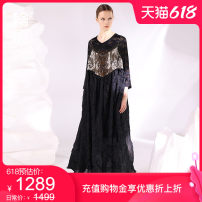 Dress literature Polyester 100% Same model in shopping malls (both online and offline) longuette singleton  Sleeveless commute Loose waist Spring 2021 Condom More than 95% Pendulum type 30-34 years old polyester fiber Type A L211Y017 Bright silk open back fabric pleated jacquard Outline / outline