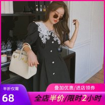 Women's large Summer 2020 black M [90-100 Jin], l [100-120 Jin], XL [120-140 Jin], 2XL [140-155 Jin], 3XL [155-175 Jin], 4XL [175-200 Jin], [collection and purchase give priority to delivery] Dress singleton  commute Self cultivation moderate Socket Short sleeve Korean version other Medium length