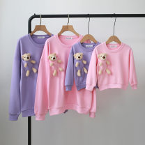 Parent child fashion White, violet, pink A family of three Female, male, neutral Other / other summer Cartoon routine Cartoon animation Sweater / sweater cotton L,M,S,XL Cotton 95% polyurethane elastic fiber (spandex) 5% S,M,L,XL Chinese Mainland