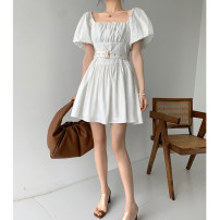 Dress Summer 2020 White Navy S M L Middle-skirt singleton  Short sleeve commute square neck High waist Solid color zipper A-line skirt puff sleeve 25-29 years old Type A LiON&CAT Korean version Three dimensional decorative zipper with open back fold lace 51% (inclusive) - 70% (inclusive) cotton