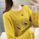 Wool knitwear Spring 2020 S M L XL Yellow purple red black white pink Long sleeves singleton  Socket other More than 95% Regular routine commute easy Low crew neck raglan sleeve Cartoon animation Socket J15758 Bei Xueli Embroidery and hollowing out Other 100% Exclusive payment of tmall