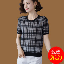Women's large Summer 2021 black M L XL 2XL 3XL T-shirt singleton  commute easy thin Socket Short sleeve lattice Korean version Crew neck have cash less than that is registered in the accounts polyester Three dimensional cutting routine Suratif thread Viscose (viscose) 100%