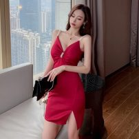 Dress Summer 2021 Red, blue, black S,M,L Short skirt singleton  Sleeveless commute V-neck High waist Solid color zipper One pace skirt routine camisole 18-24 years old Korean version