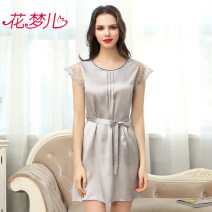 Nightdress Flower dream C082 red c082 rubber powder c082 Silver M L XL Sweet Short sleeve pajamas Middle-skirt summer Solid color middle age Crew neck silk Frill decoration More than 95% silk C082 Summer of 2018 Mulberry silk 100%