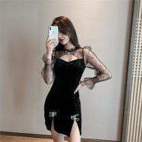 Dress Autumn 2020 black S,M,L Short skirt singleton  Long sleeves commute stand collar High waist Solid color zipper One pace skirt pagoda sleeve Others 18-24 years old Type H Korean version Mesh, stitching, zipper