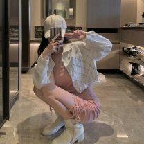 Fashion suit Autumn 2020 S,M,L Denim jacket, black suspender skirt, pink suspender skirt 18-25 years old