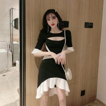 Dress Summer 2021 black S,M,L Short skirt singleton  Short sleeve commute Crew neck High waist zipper Ruffle Skirt pagoda sleeve Others 18-24 years old Type H Korean version Ruffles, hollowed out, stitched