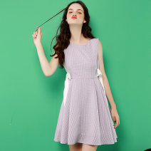 Dress Summer of 2018 Lavender  S M L Middle-skirt singleton  Sleeveless commute Crew neck High waist Solid color zipper A-line skirt routine Others 18-24 years old Type A Korean version More than 95% polyester fiber Polyester 100% Pure e-commerce (online only)