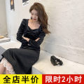 Dress Spring 2021 Black JH S M L XL 2XL 3XL 4XL Mid length dress singleton  Long sleeves commute other High waist Solid color routine 18-24 years old Eileen Korean version 12-30C5362-XX More than 95% polyester fiber Polyester 100% Pure e-commerce (online only)