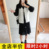 Dress Spring 2021 White vest [single piece] black dress [single piece] Vest + dress [suit] S M L XL 2XL 3XL 4XL Mid length dress Two piece set Long sleeves commute square neck Solid color other routine 18-24 years old Eileen Korean version 9-22C8606 More than 95% polyester fiber Polyester 100%