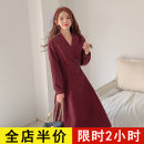 Dress Spring 2021 Red JH [cool wind women's high-end dress / slim waist high-end skirt] S M L XL 2XL 3XL 4XL Mid length dress singleton  Long sleeves commute V-neck middle-waisted Solid color Single breasted other routine Others 18-24 years old Eileen Korean version 2-7CS0086H-XX More than 95%
