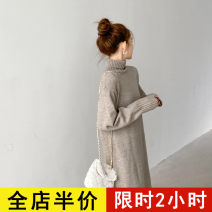 Dress Spring 2021 Camel JH S M L XL 2XL 3XL 4XL longuette singleton  Long sleeves commute High collar Loose waist Solid color Socket other routine 18-24 years old Eileen Korean version 12-21C5323HTS-XX 31% (inclusive) - 50% (inclusive) acrylic fibres Pure e-commerce (online only)