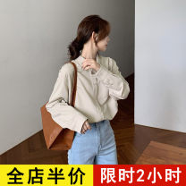 shirt Dark apricot top [one piece] coffee shawl [one piece] Top + shawl [suit] S M L XL 2XL 3XL 4XL Spring 2021 Viscose 51% (inclusive) - 70% (inclusive) Long sleeves commute Regular square neck Single row multi button routine Solid color 18-24 years old Eileen Korean version 10-7AC285+AC279