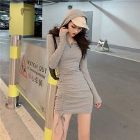 Dress Spring 2021 Gray, black Average size Short skirt singleton  Long sleeves commute V-neck High waist Solid color Socket Irregular skirt routine Others 25-29 years old Type A Retro Button, button 51% (inclusive) - 70% (inclusive) other cotton