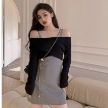 Dress Spring 2021 Cross top, suspender skirt Average size Short skirt Two piece set Long sleeves commute V-neck High waist Solid color One pace skirt routine camisole 18-24 years old Type H Retro fold 31% (inclusive) - 50% (inclusive) knitting other