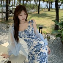 Dress Summer 2021 blue and white porcelain S, M Mid length dress singleton  Sleeveless commute other middle-waisted Decor Socket Irregular skirt other camisole 18-24 years old Korean version 81% (inclusive) - 90% (inclusive) Chiffon