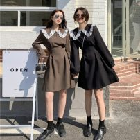 Dress Spring 2021 Black, brown Average size Short skirt singleton  commute Doll Collar middle-waisted houndstooth  Single breasted Ruffle Skirt other Others 18-24 years old Type A Korean version Lotus leaf edge 31% (inclusive) - 50% (inclusive) other polyester fiber
