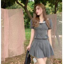 Fashion suit Summer 2021 S, M Top, pleated skirt 18-25 years old 31% (inclusive) - 50% (inclusive) polyester fiber