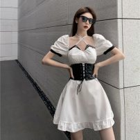 Fashion suit Summer 2021 S. M, l, average size White dress, black waist cover 18-25 years old 31% (inclusive) - 50% (inclusive)