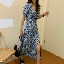 Dress Summer 2021 blue Average size Mid length dress singleton  Short sleeve commute other High waist Broken flowers Socket other other Others 18-24 years old Korean version 31% (inclusive) - 50% (inclusive) Chiffon