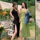 Dress Summer 2021 Green, black Average size (80-130 kg) Mid length dress singleton  Sleeveless commute V-neck Loose waist Solid color Socket One pace skirt other camisole 18-24 years old Korean version 31% (inclusive) - 50% (inclusive) other polyester fiber