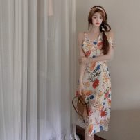 Dress Summer 2021 Floral skirt S, M longuette singleton  Sleeveless commute other middle-waisted Decor Socket other other camisole 18-24 years old Korean version 31% (inclusive) - 50% (inclusive)