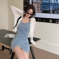 Dress Summer 2021 Denim blue S,M,L Short skirt singleton  Sleeveless commute other Solid color Socket other other camisole 18-24 years old Korean version 31% (inclusive) - 50% (inclusive)
