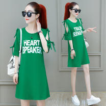 Dress Summer 2021 Green, red, black, yellow S [recommended 85-105 kg], m [recommended 105-125 kg], l [recommended 125-145 kg], XL [recommended 145-160 kg], 2XL [recommended 160-180 kg] Mid length dress singleton  Short sleeve commute Crew neck middle-waisted letter A-line skirt routine Type A