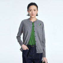 Wool knitwear Spring 2021 36 38 40 42 Long sleeves singleton  Cardigan wool More than 95% Regular routine commute Straight cylinder Low crew neck routine Color matching Single breasted Simplicity 30-34 years old OTT Embroidery Wool 100%