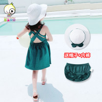 Dress Green red yellow female Scallion scallops Cotton 95% polyurethane elastic fiber (spandex) 5% summer Korean version Skirt / vest Solid color cotton A-line skirt Class A Summer of 2019 12 months 6 months 9 months 18 months 2 years 3 years 4 years 5 years old Chinese Mainland Henan Province
