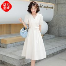 Dress Summer 2021 Beige orange light yellow M L XL Mid length dress singleton  Short sleeve commute V-neck High waist Solid color Socket A-line skirt routine 30-34 years old Type A La'terraneo / talineo Button LAX806 More than 95% other polyester fiber Polyester 100%