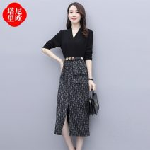 Dress Spring 2021 Picture color M L XL XXL Mid length dress Fake two pieces Long sleeves commute V-neck High waist Solid color Socket A-line skirt routine Others 25-29 years old Type A La'terraneo / talineo Korean version Splicing More than 95% polyester fiber Polyester 100%