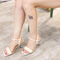 Sandals 34,35,36,37,38,39 Nude patent leather sandals Double skin mulching Mangoyisa Barefoot Thick heel High heel (5-8cm) Summer 2021 Flat buckle Sweet Solid color Adhesive shoes Youth (18-40 years old), middle age (40-60 years old) rubber daily Ankle strap Low Gang Hollow Sheepskin Sheepskin